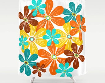 Flowers, Shower Curtain, Yellow, Retro, Mid Century Modern, Turquoise, Bathroom Decor, Home Decor, Mid Century, White, Orange, 1950s