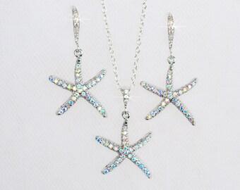 Handmade Aurora Borealis AB Crystal Rhinestone Starfish Bridal Necklace & Earrings Set, Beach, Destination Wedding (Sparkle-2675)