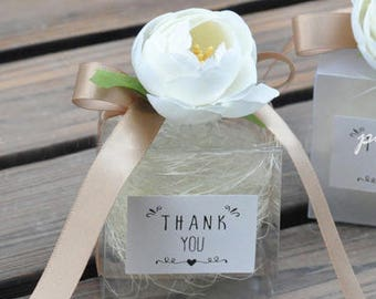 Artificial Flowers Clear Wedding Favor Boxes, Gift Boxes, Wedding favors, Wedding favour boxes, Party favor box, Wedding box  (set of 20)