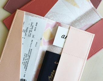 Long geometric desert passport holder, passport case, vinyl passport holder with cotton liner, faux leather passport holder