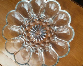 Vintage Anchor Hocking Fairfield Clear Glass Deviled Egg Plate Platter