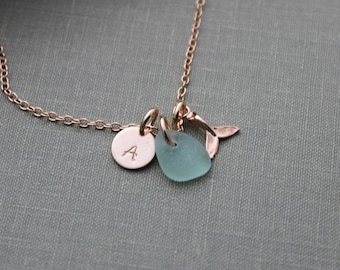 Rose Gold vermeil whale tail necklace - Genuine Sea Glass and Initial Charm necklace - Wedding Bridesmaid Gift, Personalize Pink Gold Filled