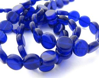 Cobalt Blue Czech Glass 8mm Dime  Beads 25pc #2177