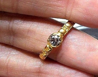 High grade Brilliant Cut Genuine Champagne Diamond 22K Solid Gold Ring , vintage diamond ring , Champagne diamond , engagement ring