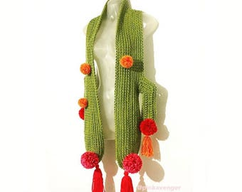 Blooming Cactus Scarf - Crocheted Handmade Vegan Friendly Acrylic Cacti Desert Wrap w/Pom Poms & Tassels - Cute Desert Style Fashion
