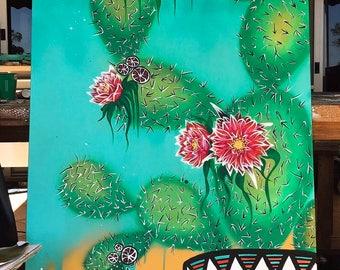 Cactus print canvas