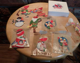 1920's Gummed Christmas labels, Old Christmas labels, 60 plus Christmas labels from the 1920's, Rare vintage gummed Christmas labels