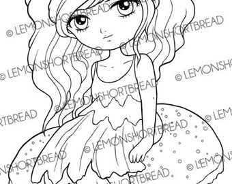 Digital Stamp Mushroom Fairy Pixie, Digi Download, Toadstool Autumn Fall, Fantasy, Clip Art, Coloring Page, Flower, Scrapbooking Supplies