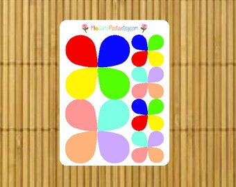 M006 - 24 Large & Small Tear Drop StickiPocket Mini Sheet Planner Stickers