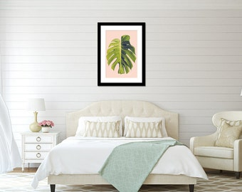 Fine art photography, Monstera tropical home decor, modern interior design wall art. Monstera print, large poster art, Large wall art.