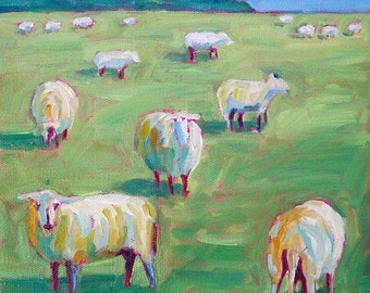 Sheep - Sheep Art - Sheep Print - Paper - Canvas - Wood Block