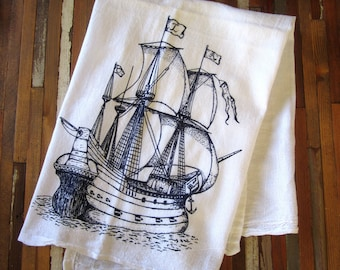 Tea Towel - Organic Tea Towels - Kitchen Towels - Pirate Ship - Dish Towels - Tea Towel Flour Sack - Flour Sack Tea Towel - Organic Cotton