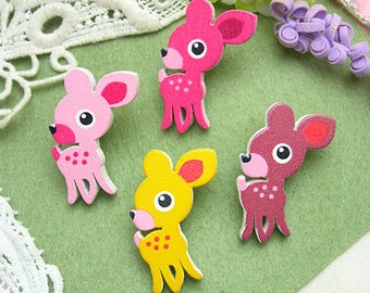 8pcs Handmade Colorful  Deer  wooden  Buttom,(25X40MM)