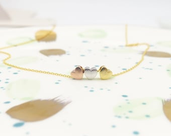 Tiny three heart necklace, three sister gift, gift for best friend,dainty heart necklace, bridesmaid gift,gift for mom sister friend grandma