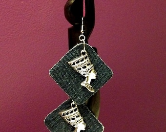 Egyptian Nefertiti silver or antique brass tone denim, earrings. Lightweight