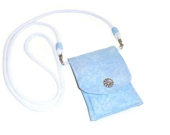 Phone Purse, Blue Cross Body Bag, Small Shoulder Purse, ID Credit Card Holder, Mother's Day, Birthday, Gift for Women
