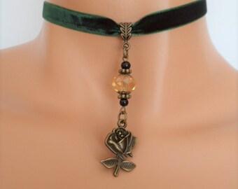 rose velvet choker, green velvet choker, rose necklace, antique bronze tone