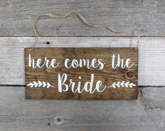 """Rustic Hand Painted Wood Wedding Sign """"Here Comes the Bride"""" - Ring Bearer Sign, Flower Girl Sign, Wedding Ceremony  - 12""""x5.5"""""""