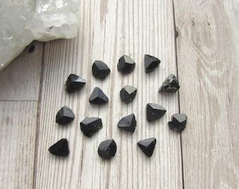 Small Black Tourmaline Point Slices - Polished Natural Raw Rough Gemstone Specimen - Schorl Tourmaline