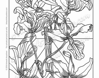 "Orchids on Glass ""Intricate Detail Shaded Orchids"" Adult coloring page printable download from Artwork Anywhere ~hand drawn orchid flowers~"