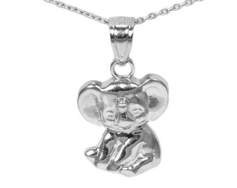 14k White Gold Elephant Necklace