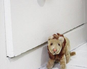 Vintage Soft Toy. Well loved Lion, Brushed velvet