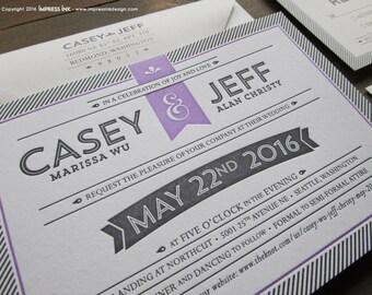 Letterpress Invitation Sample Pinstripes Modern Typography Wedding Invitation