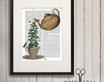 Gift for tea lovers Teapot and butterflies - tea gift kitchen decor tea print tea art print kitchen art print tea cup tea pot kitchen print