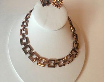 Renoir Copper Square Link  Necklace and Earrings Demi Parure