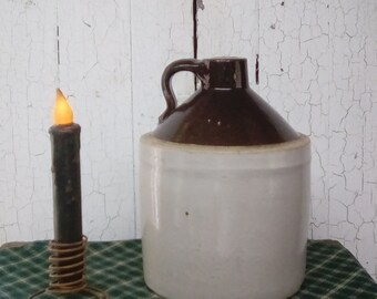 Stoneware Jug / Antique Stoneware Jug / Over The Shoulder Whiskey Jug / Primitive Style Crock -Jug / Farmhouse Style Stoneware Whiskey Jug