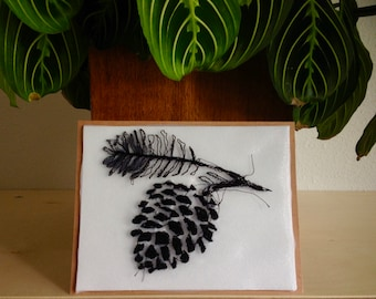 Art Cards---Stitched Pinecone