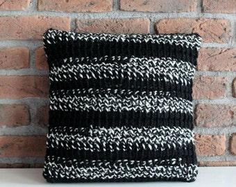Hand Knitted Throw Pillow Cover striped pillow case stripe throw pillow black white crochet pillow decorative boho pillow modern wool pillow