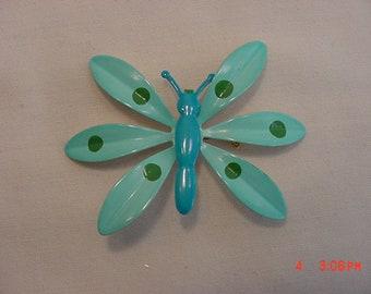 Vintage Blue & Green Enameled Metal Butterfly Brooch  18 - 557