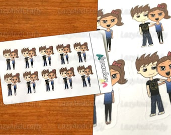 Chibi Couples - Planner stickers - Hand drawn doodle stickers for EC planners, Happy Planner, Filofax, and much more!
