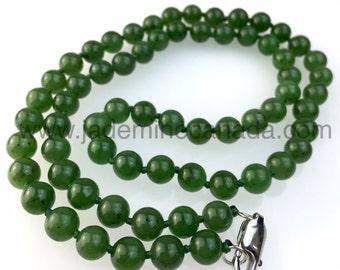 Canadian Nephrite Jade 8mm Bead Necklace - B Grade
