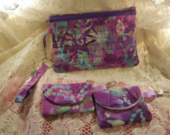Phone wristlet pouch with credit card case and coin purse