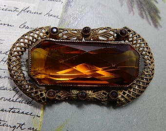 Large Amber Stone Antique Brooch or Sash Pin w/ Filigree Border    OEC28