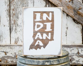 Indiana Wood State Sign | Rustic Decor | Wood Sign | Country Home | Wall Hanging | Farmhouse Decor | Whitewash | Home State Sign