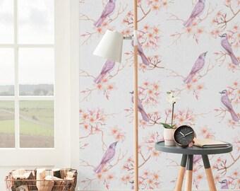 Plumeria and Exotic Violet Birds Pattern Wallpaper, Removable Wallpaper, Wall Sticker, Plumeria and Birds Self Adhesive Wallpaper, 118