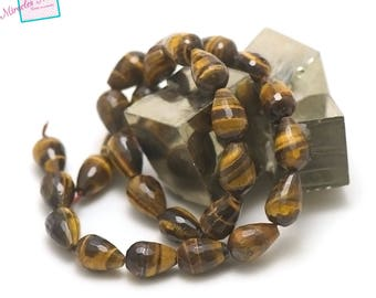 """natural stone, wire 39 cm 27 Tiger eye beads """"drop faceted 15 x 10 mm"""""""