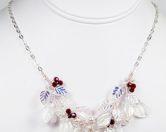 Red White Bib Necklace, Holiday Jewelry, Christmas Necklace, Beaded Necklace, Bridal Jewelry,  Wedding Necklace,