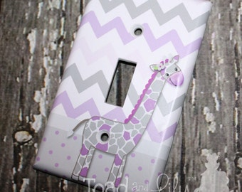 Sweet Lilac Giraffe Chevron Girls Bedroom Single Light Switch Cover LS0076
