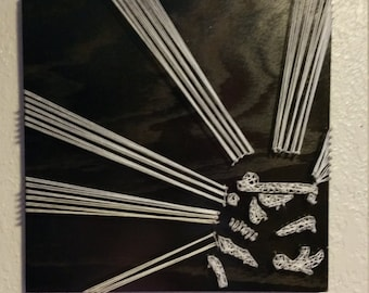 Storm Trooper String Art Star Wars Wall Decoration Black & White Hand Made One-of-a-Kind