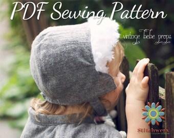 Bonnet, Cap, Hat Sewing Pattern, S138 Joyce Ann, Digital Hat Sewing Pattern, Infant-Adult Sizes, Spring Bonnet, Winter Cap Sewing Pattern