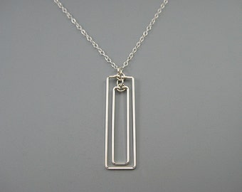 Rectangle Necklace - geometric pendant on sterling silver chain, architecture jewelry, modern minimalist art deco, Linked Rectangular
