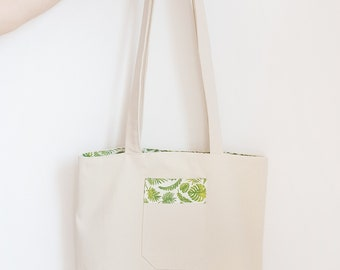 Reversible tote bag floral pattern