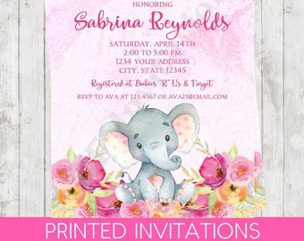 Custom Printed Watercolor Floral Pink Elephant Baby Shower Invitation - Elephant Baby Shower Invitation - .99 each with envelope
