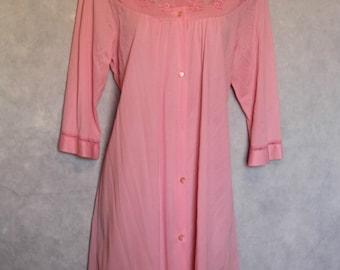 Vtg Texsheen Lingerie Peach Button-Up Nightgown Robe Size M Nylon USA