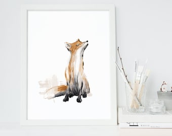 Fox Print, Wall ARt, Original Fox Illustration, Woodland Nursery Decor, Animal Print, Fox Painting, Digital Art, Fox Art
