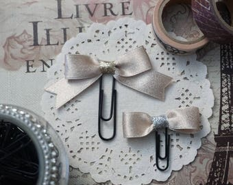 Petite taupe satin bow paperclip
